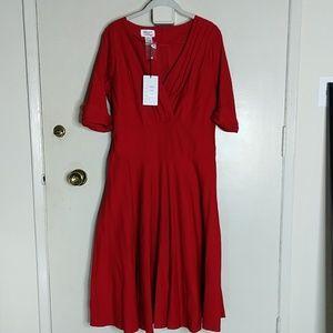 Unique Vintage 1950s Red Delores Swing Dress